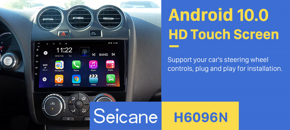 Seicane 9 inch HD Touchscreen Android 10.0 Radio for 2008-2012 Nissan Teana ALTIMA Manual A/C Multimedia Player with GPS Navi WIFI FM USB Bluetooth music support Digital TV SWC  TPMS