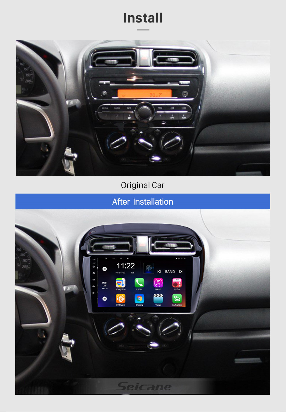 Seicane 2012 2013 2014 2015 2016 Mitsubishi Mirage 9 inch Android 10.0 Car Radio GPS Navigation System with 1024*600 HD Touchscreen Bluetooth music USB WIFI FM Steering Wheel Control support DVR OBD