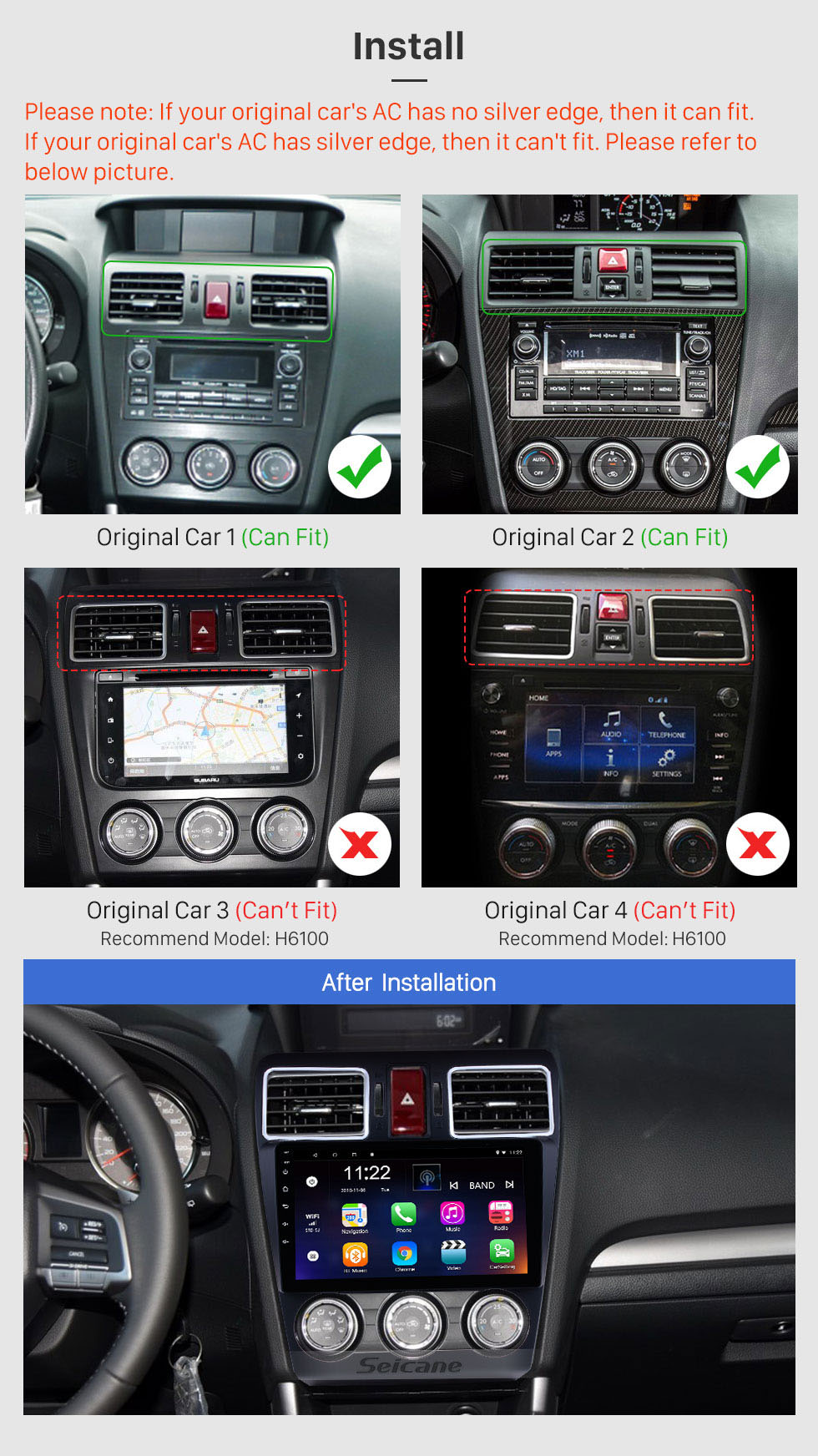 Seicane 9 Inch Android 10.0 Touchscreen Bluetooth Radio For 2013 2014 Subaru XR Forester  Impreza 3G WiFi GPS Navigation system Bluetooth music TPMS DVR OBD II Rear camera AUX