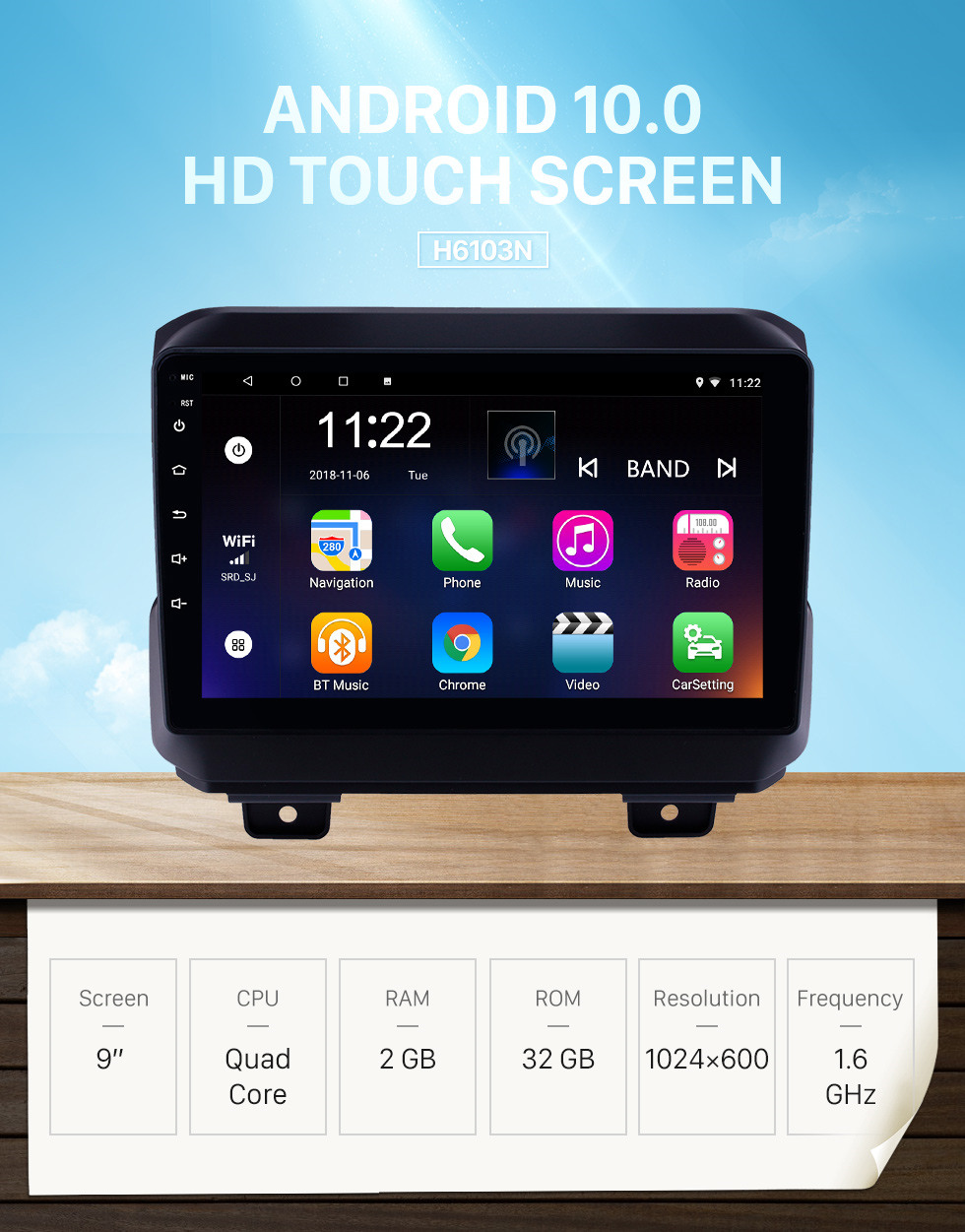 Seicane 9 inch Android 10.0 GPS Navigation Radio for 2018 Jeep Wrangler with Bluetooth WIFI USB AUX HD Touchscreen support Carplay DVR OBD