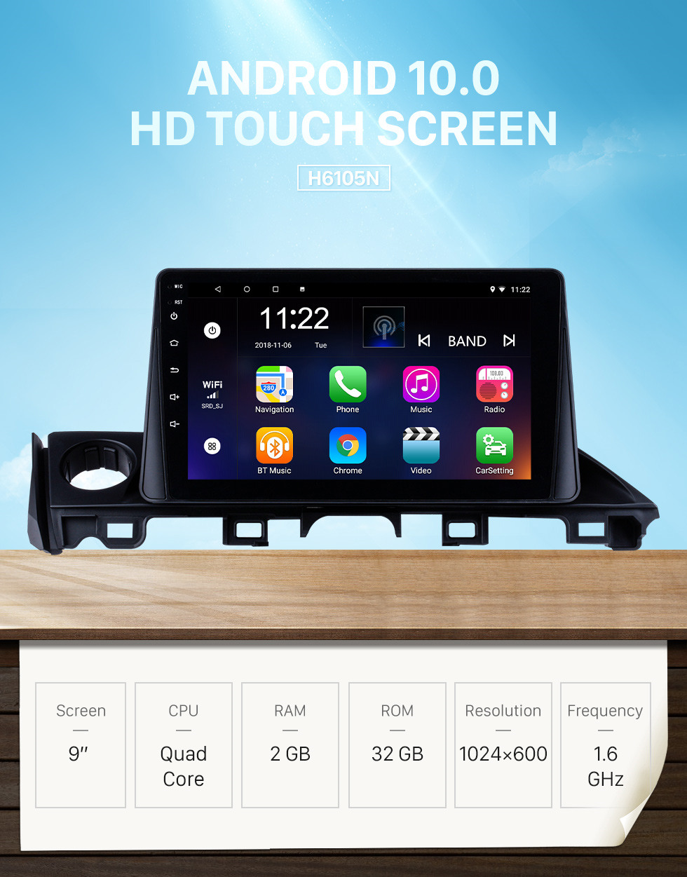 Seicane 9 inch HD Touch Screen 2017 Mazda ATENZA / Mazda 6 Android 10.0 Radio GPS Navigation system with Bluetooth USB 3G WIFI OBD2 Mirror Link Rearview Camera