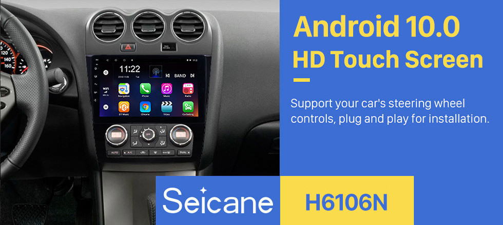 Seicane Android 10.0 9 inch HD Touchscreen GPS Navigation Radio for 2008-2012 Nissan Teana ALTIMA (MT) Auto A/C with WIFI USB Bluetooth support 3G SWC Rearview Camera OBD DVR