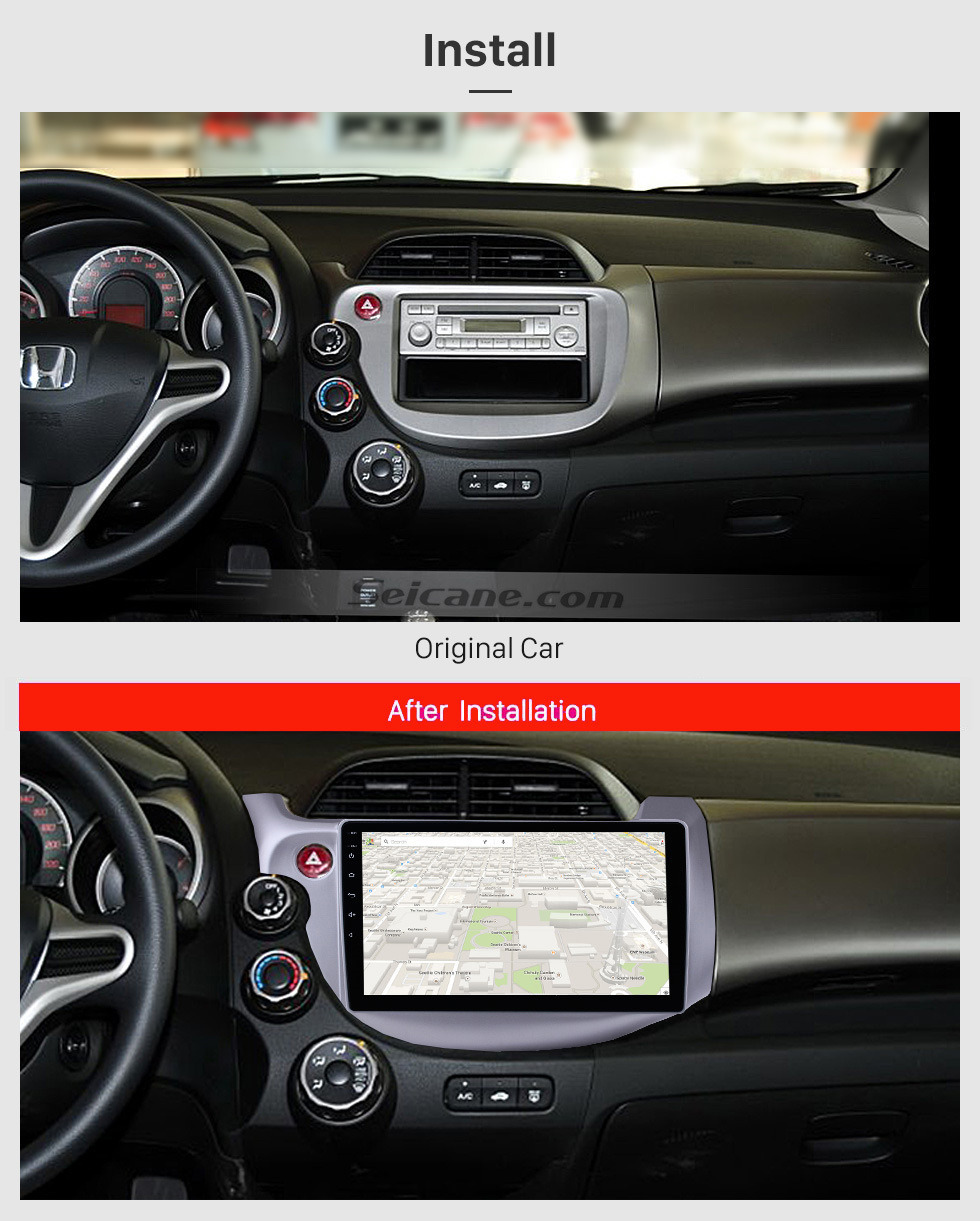 Seicane 2007 2008 2009-2013 Honda Fit Left hand driver 10.1 inch Android 10.0 HD 1024*600 Touchscreen GPS Navigation system with Bluetooth WIFI Mirror link Steering Wheel Control