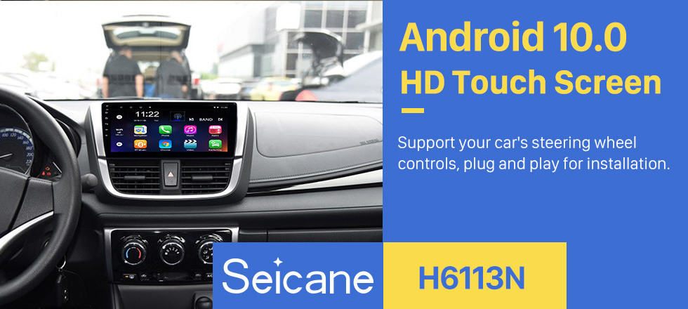 Seicane Android 10.0 9 inch Bluetooth Radio for 2017 Toyota YARiS L with HD Touchscreen GPS Navi AUX USB FM support DVR Backup Camera TPMS OBD Carplay 3G