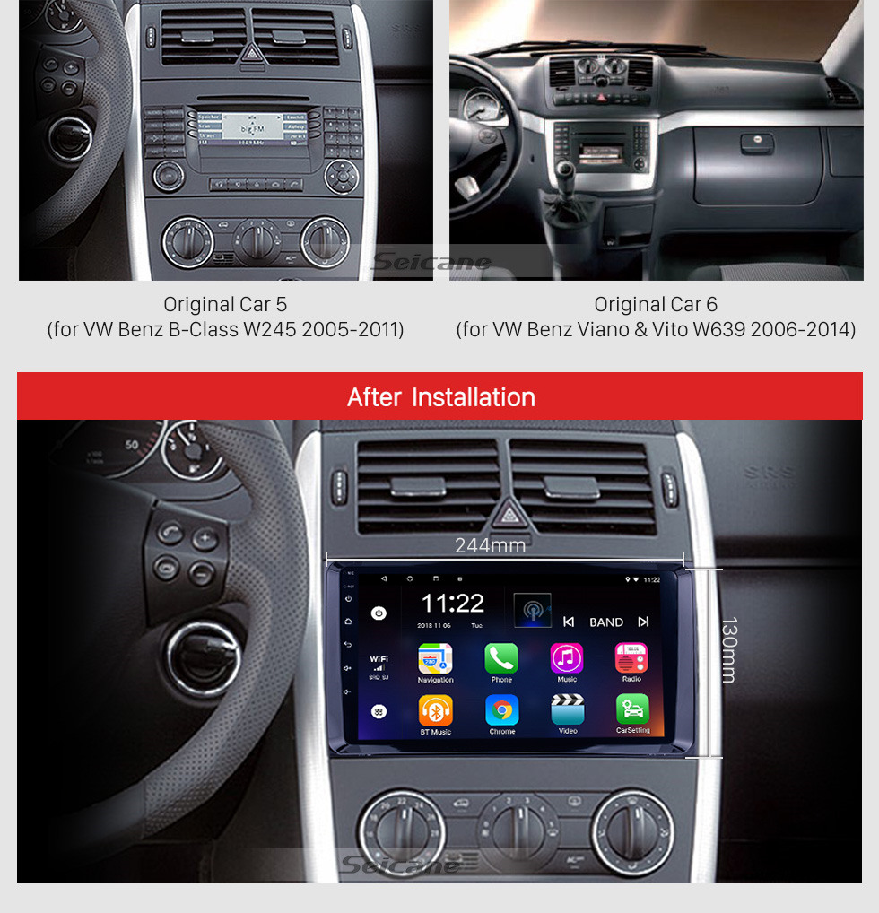 Seicane 9 inch Android 10.0 GPS Navigation Radio for VW Volkswagen Crafter Mercedes Benz Viano / Vito /B Class W245 /Sprinter /A Class W169 with Bluetooth WiFi Touchscreen support Carplay DVR