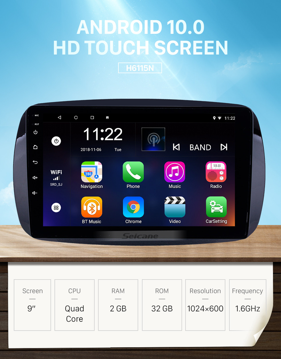 Seicane HD Touchscreen 9 inch Android 10.0 GPS Navigation Radio for 2016 Mercedes Benz Smart with Bluetooth AUX support DVR Carplay OBD Steering Wheel Control