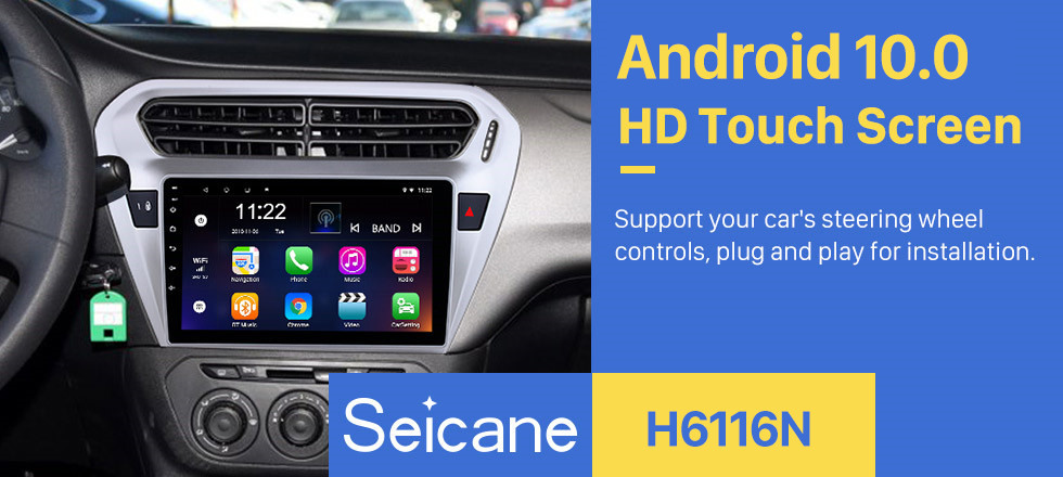 Seicane 9 Inch Android 10.0Touch Screen radio Bluetooth GPS Navigation system For 2013 2014 2015 Citroen Elysee Peguot 301 support TPMS DVR OBD II USB SD 3G WiFi Rear camera Steering Wheel Control