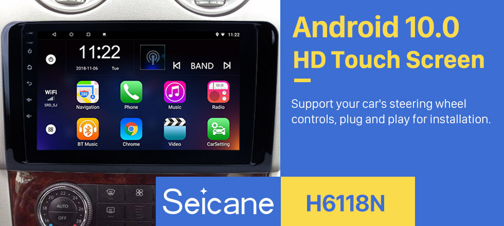 Seicane 9 Inch For 2005-2012 Mercedes Benz ML CLASS W164 ML350 ML430 ML450 ML500 Android 10.0 Capacitive Touch Screen Radio GPS Navigation system Bluetooth TPMS DVR OBD II Rear camera AUX USB SD 3G WiFi