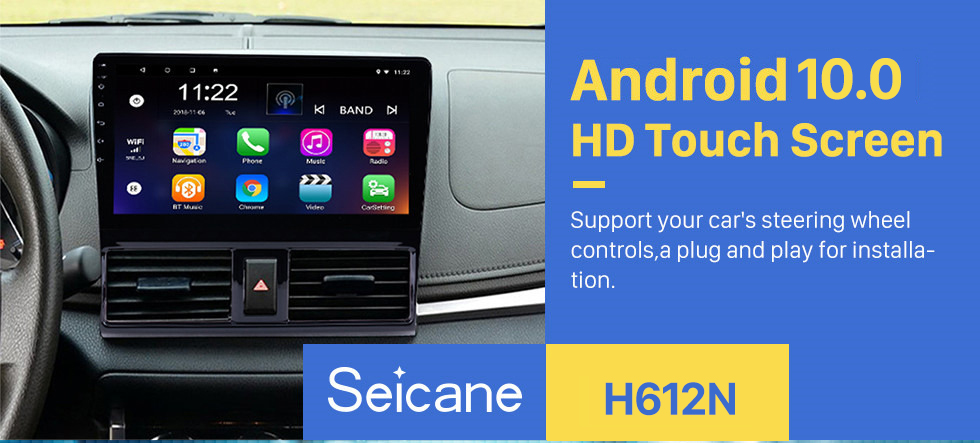 Seicane 2013 2014 2015 2016 Toyota Vios 10.1 inch HD 1024*600 Touchscreen Android 10.0 Radio GPS Navigation system with Bluetooth WIFI 1080P Video DVR Mirror Link