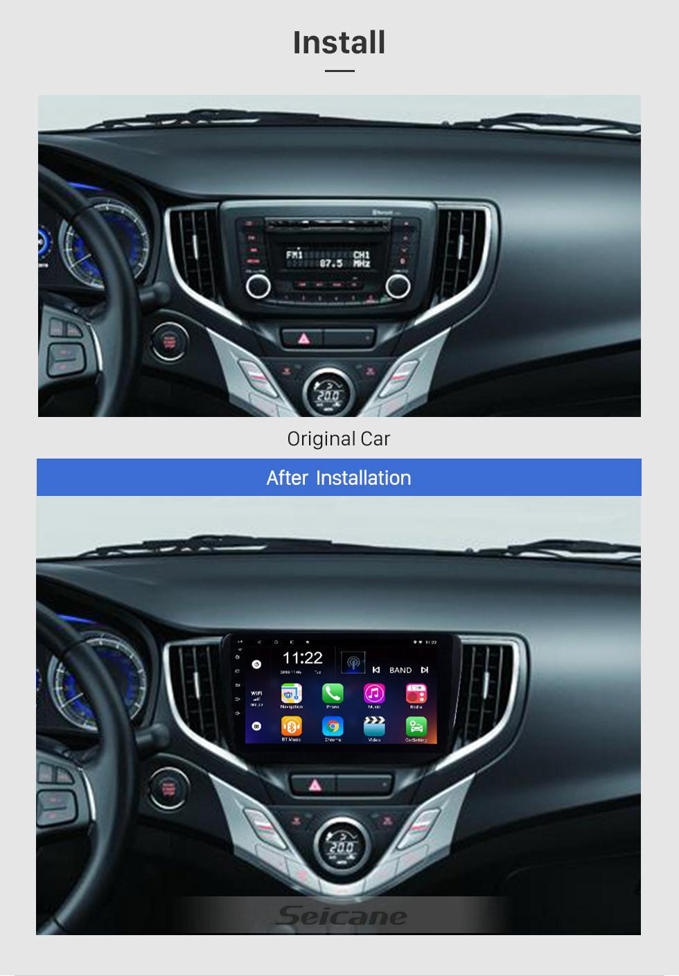 Seicane 9 pouces Android 10.0 2016 Suzuki Baleno au tableau de bord radio système de navigation GPS Bluetooth 3G WIFI caméra de recul sans fil OBD2 lien lien miroir commande au volant
