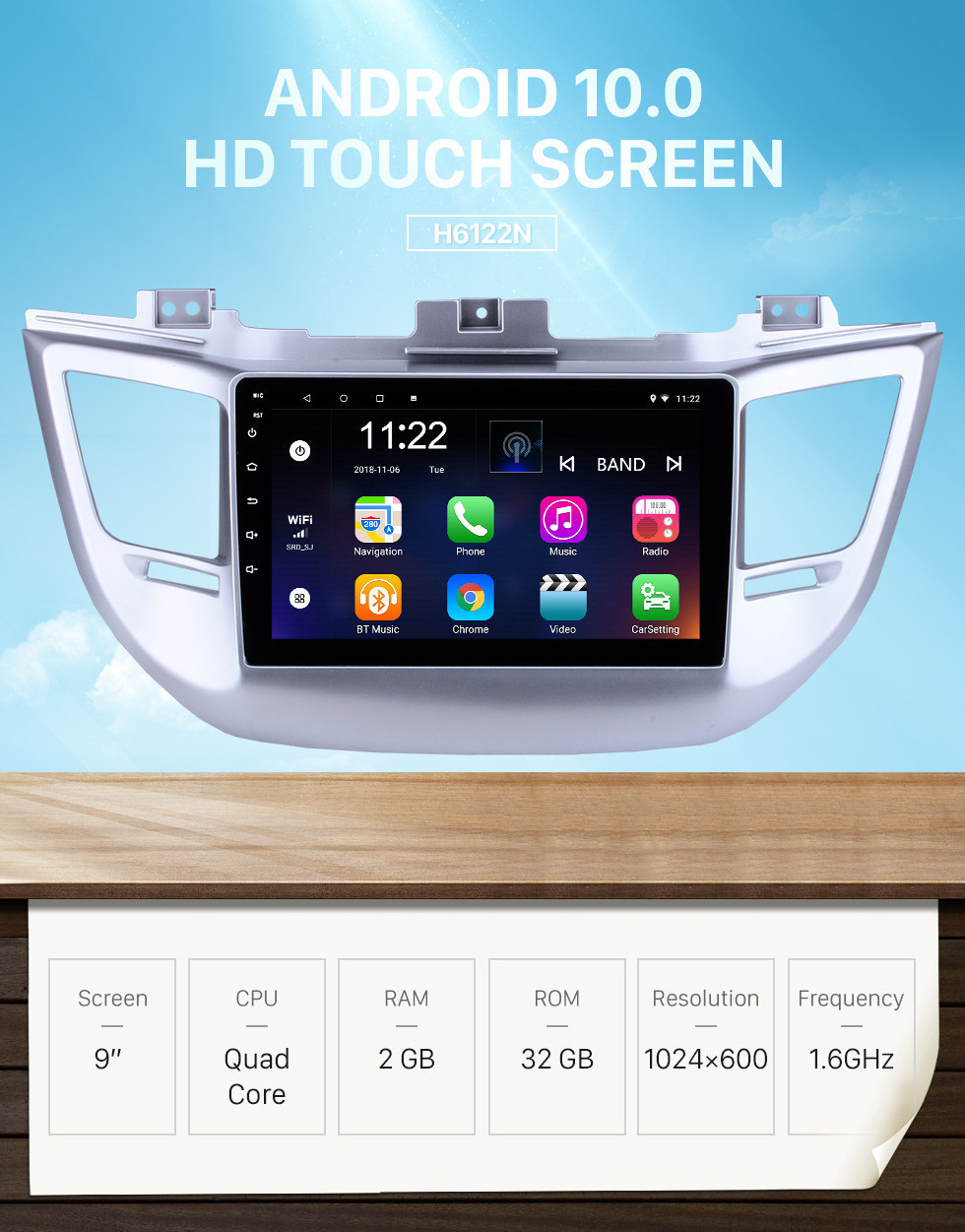 Seicane 9 Inch HD Touchscreen Android 10.0 for 2014 2015 2016 2017 2018 Hyundai TUCSON GPS Navigation System Radio with Bluetooth USB support Carplay Steering Wheel Control