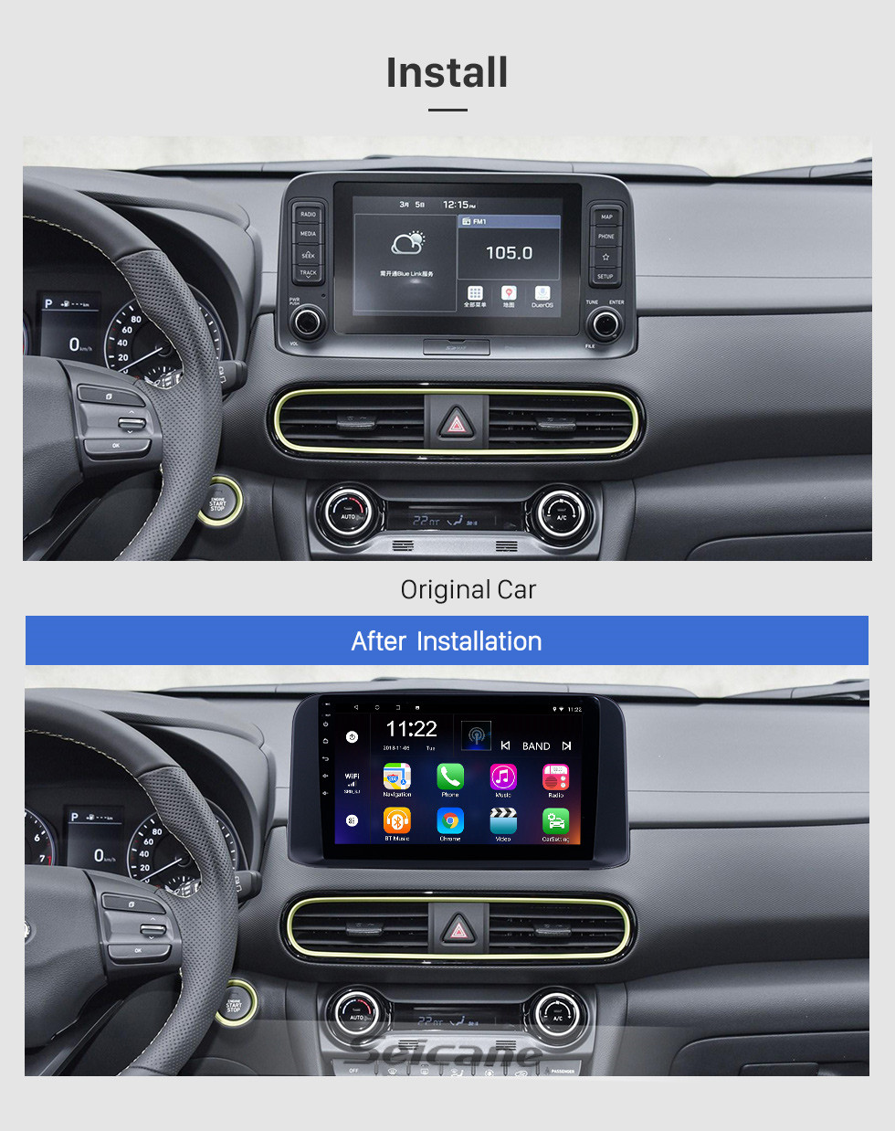 Seicane 10.1 inch 2018 2019 Hyundai TUCSON Android 10.0 HD Touchscreen GPS Navi Radio with WIFI AUX Bluetooth support RDS Carplay 3G Steering Wheel Control
