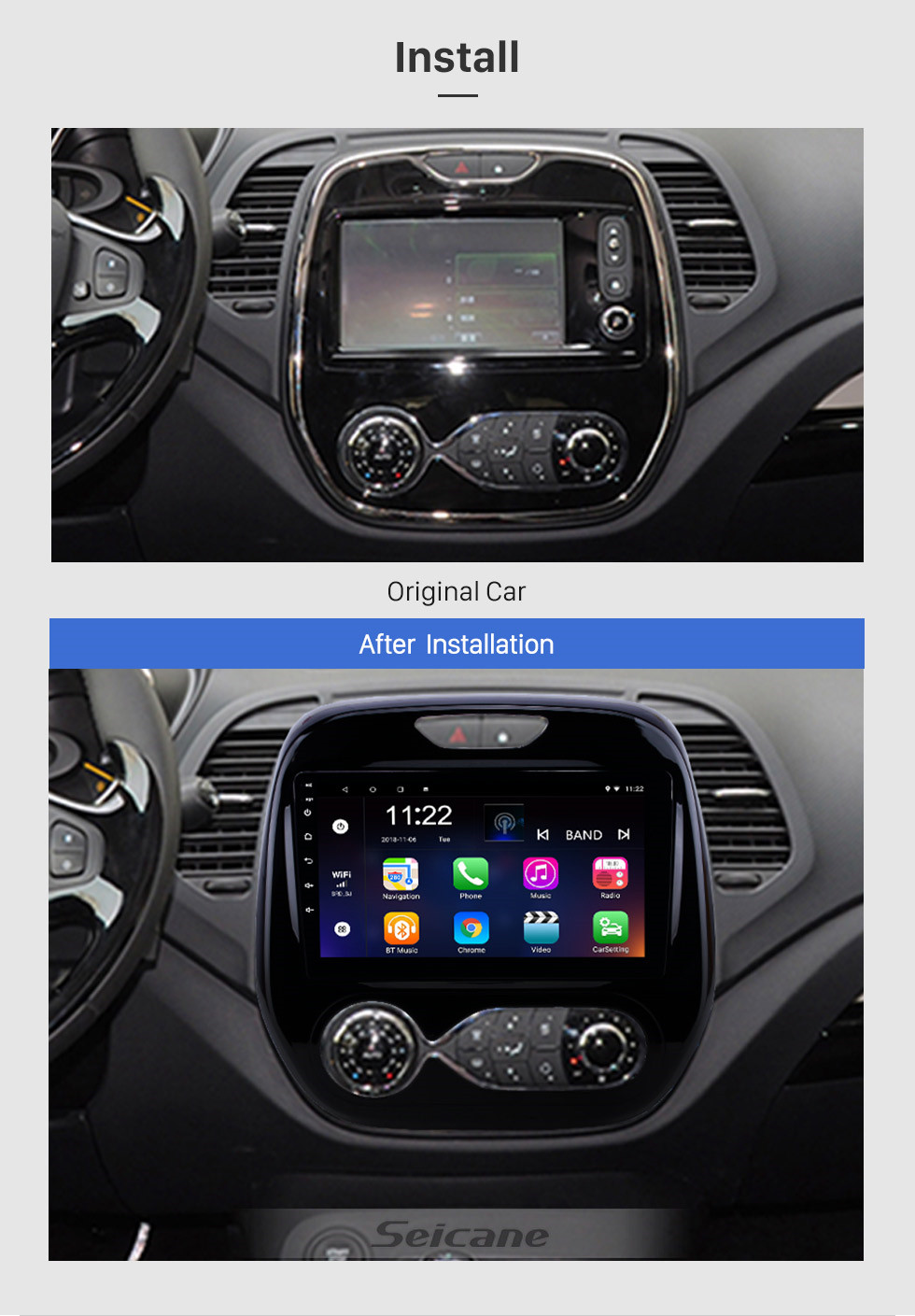 Seicane 9 Inch Android 10.0 2011-2016 Renault Captur CLIO Samsung QM3 Auto A/C GPS Navigation Car Audio System Touch Screen AM FM Radio Bluetooth Music 3G WiFi OBD2 Mirror Link AUX Backup Camera USB SD 1080P Video