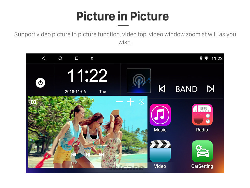 Seicane 2011-2016 Renault Captur CLIO Samsung QM3 Manuel A / C 9 pouces Android 10.0 Autoradio Navigation GPS Bluetooth Réseau sans fil USB AUX Commande au volant DVR TPMS 3G OBD
