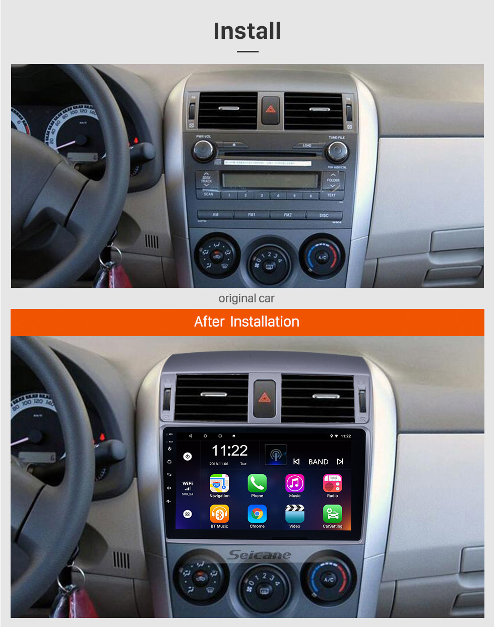 Seicane 9 inch 2007 2008 2009 2010 Toyota OLD Corolla Android 10.0 Bluetooth Radio GPS Navigation Head unit Support WIFI 1080P Video Backup Camera Audio system DVR OBD2