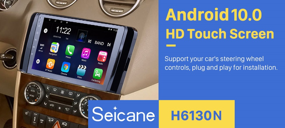 Seicane OEM Android 10.0 Radio GPS  navigation system for 2006-2013 Mercedes Benz R Class W251 R280 R300 R320 R350 R63 with Bluetooth HD 1024*600 touch screen support OBD2 DVR Rearview camera TV 3G WIFI