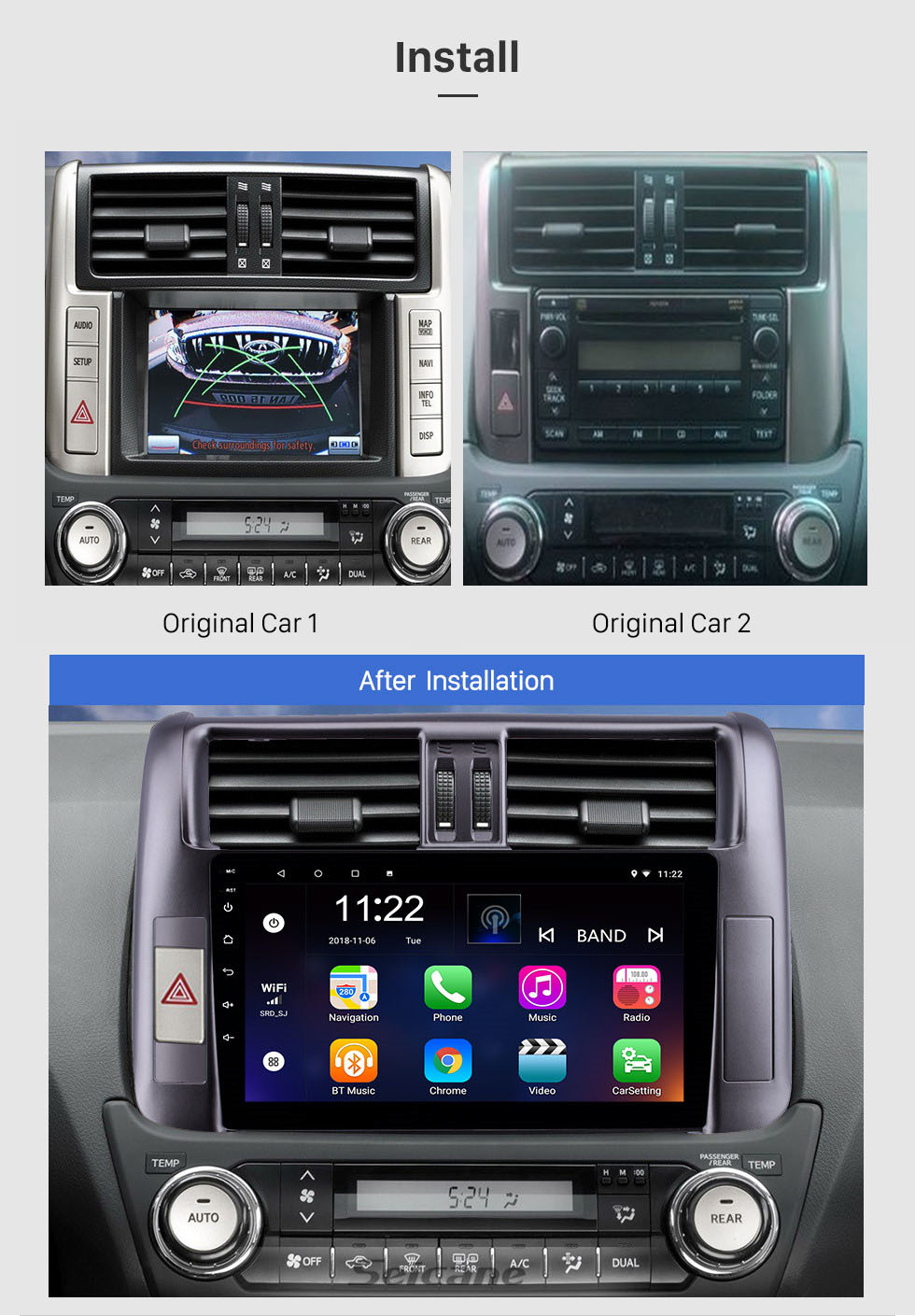 Seicane 9 inch 2010-2013 Toyota Prado 150 Android 10.0 Radio GPS System with 1024*600 Touchscreen Bluetooth Music support OBD2 DVR Rearview camera TV 1080P 3G WIFI Steering Wheel Control