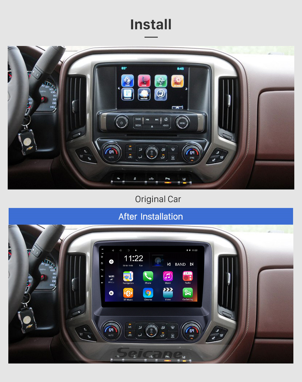 Seicane HD Touchscreen 10.1 inch Android 10.0 GPS Navigation Radio for 2014-2018 chevy Chevrolet Colorado with Bluetooth USB WIFI AUX support DVR Carplay SWC 3G