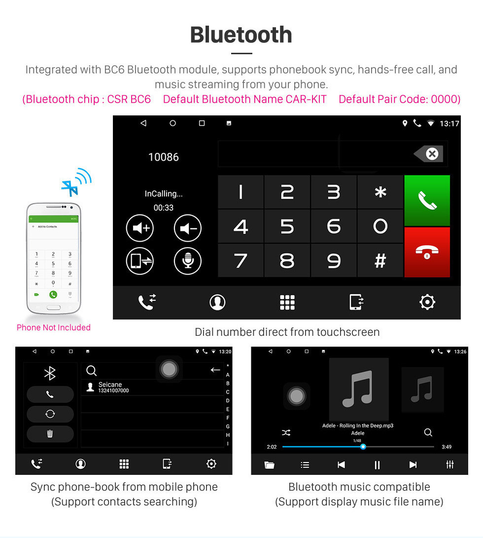 Seicane 2006-2011 Hyundai Accent Touch screen Android 10.0 9 inch Head Unit Bluetooth Stereo with Music AUX WIFI support DAB+ OBD2 DVR Steering Wheel Control