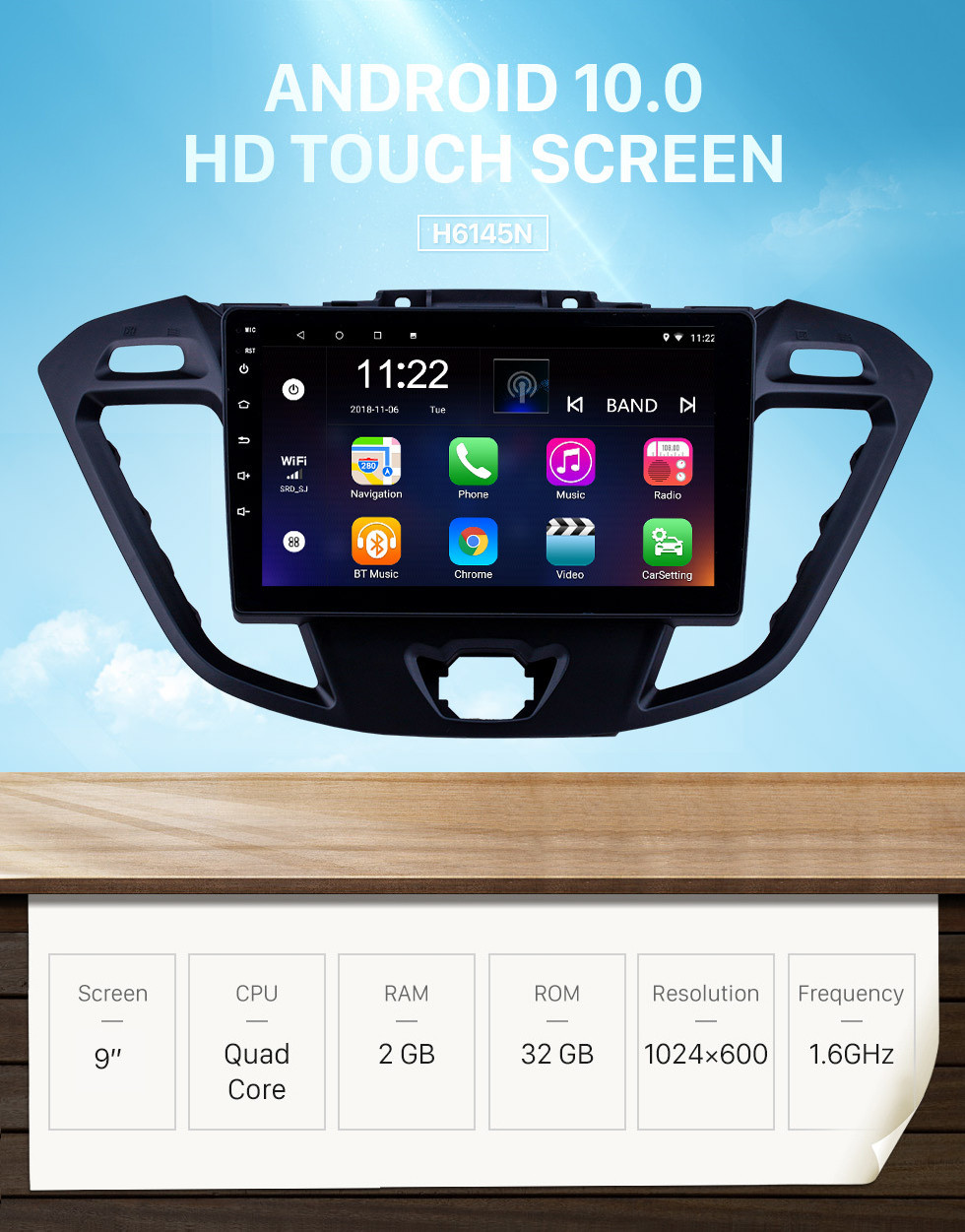 Seicane 9 inch Android 10.0 2017-2019 Ford JMC Tourneo Low Version GPS Navigation Radio with Bluetooth USB WIFI support TPMS DVR SWC Carplay 1080P Video