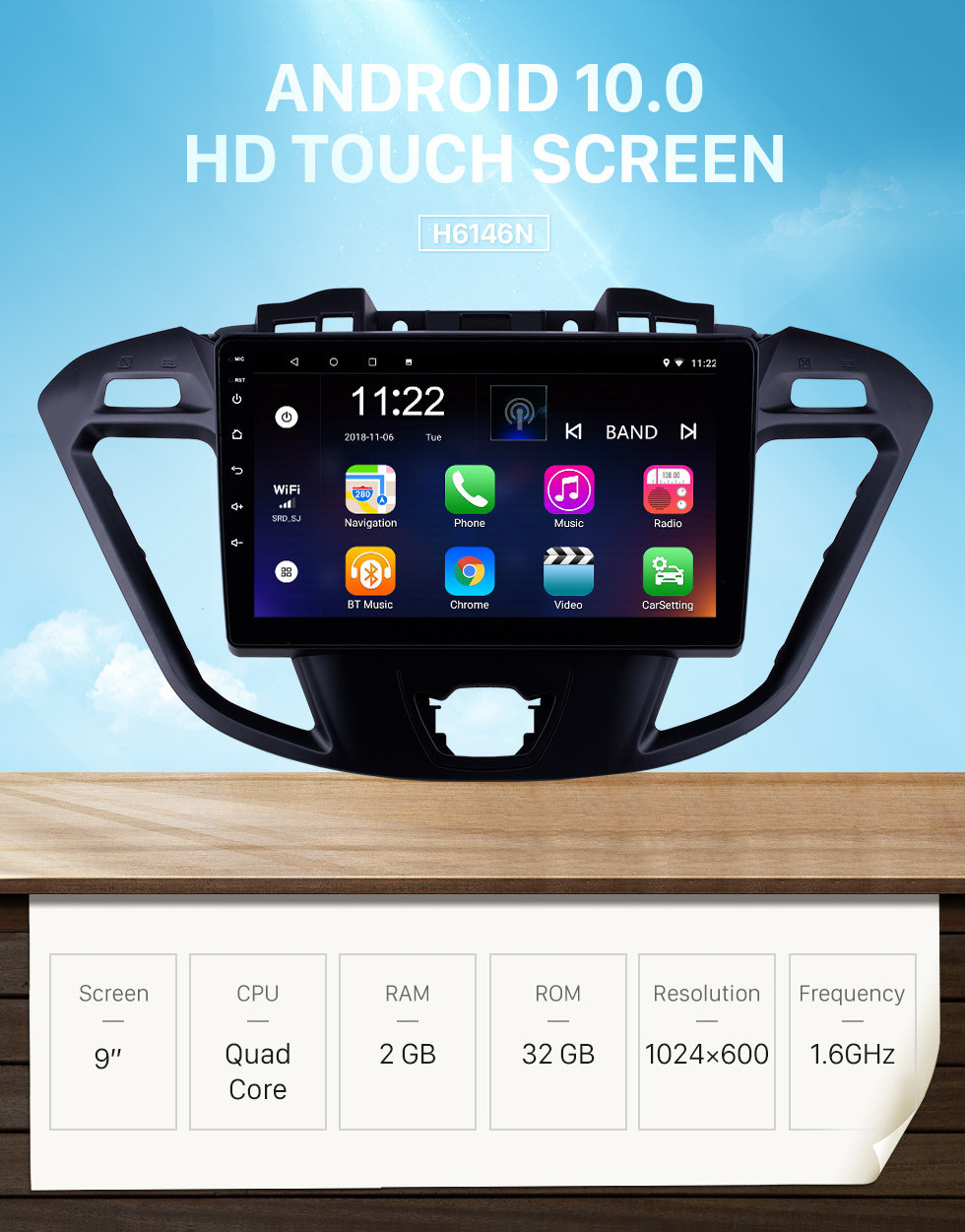 Seicane OEM HD Touchscreen Radio for 2017 2018 2019 Ford JMC Tourneo High Version 9 inch Android 10.0 Stereo USB Bluetooth support Mirror Link Carplay DVR TPMS