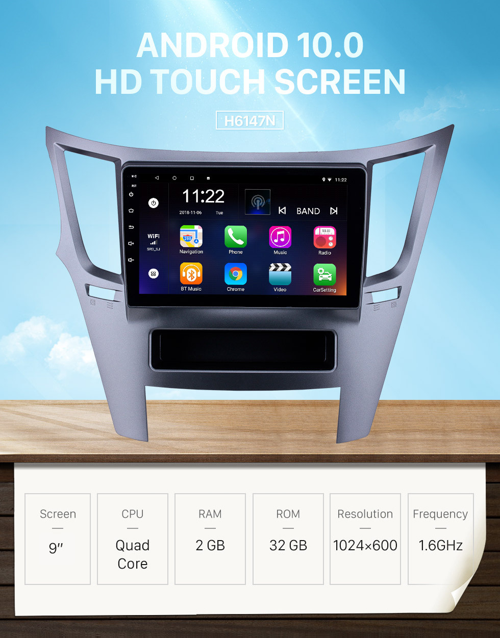 Seicane 9 inch Touchscreen Android 10.0 2010-2016 Subaru Outback LHD GPS Navigation Radio with USB WIFI Bluetooth support TPMS DVR SWC Carplay Digital TV