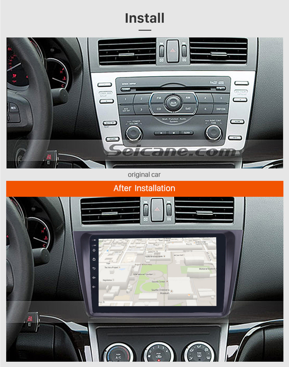 Seicane In dash Radio 9 inch HD 1024*600 Touchscreen Android 10.0 For 2008 2009 2010 2011-2015 Mazda 6 Rui wing GPS Navigation System Support Steering Wheel Control DVR OBDII WiFi Backup Camera DAB+