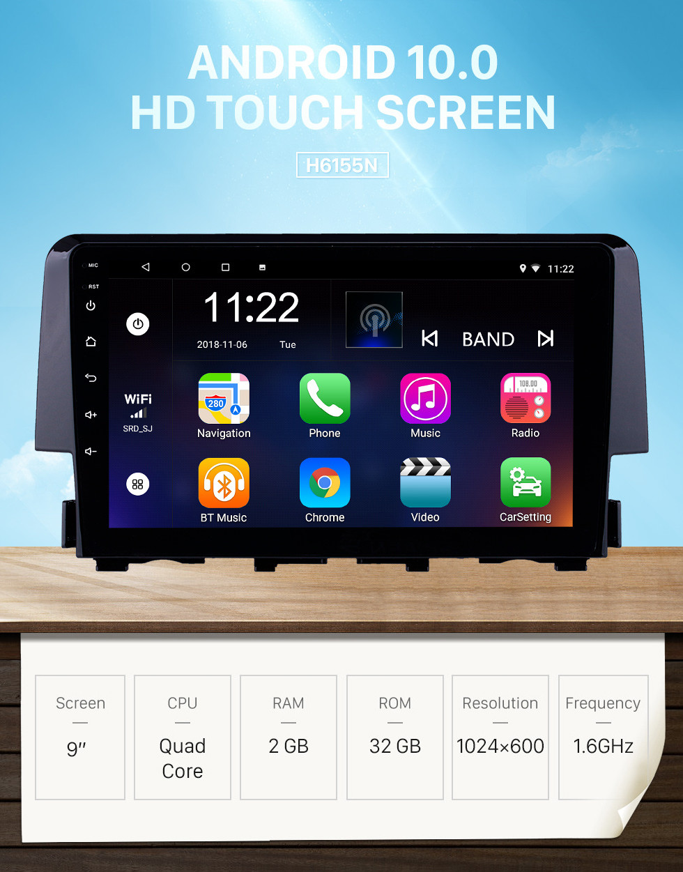 Seicane OEM 9 inch Android 10.0 Radio for 2016 Honda Civic Bluetooth Wifi HD Touchscreen GPS Navigation support Carplay DVR OBD Rearview camera