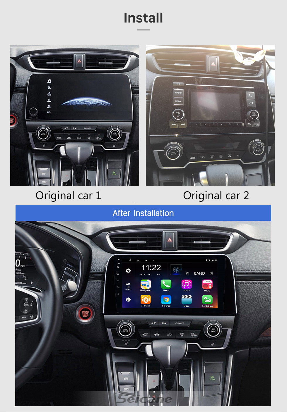 Seicane 2017 2018 Honda CRV 9 inch Android 10.0 HD Touchscreen Bluetooth GPS Navigation Radio USB AUX support Carplay 3G WIFI Mirror Link Rearview camera OBD2