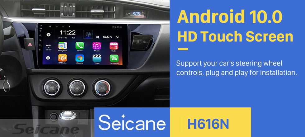 Seicane 10.1 Inch HD Touchscreen Radio GPS Navigation system Android 10.0 For 2013 2014 2015 Toyota Corolla Steering Wheel Control Bluetooth DVR Carplay USB WIFI Music Rearview