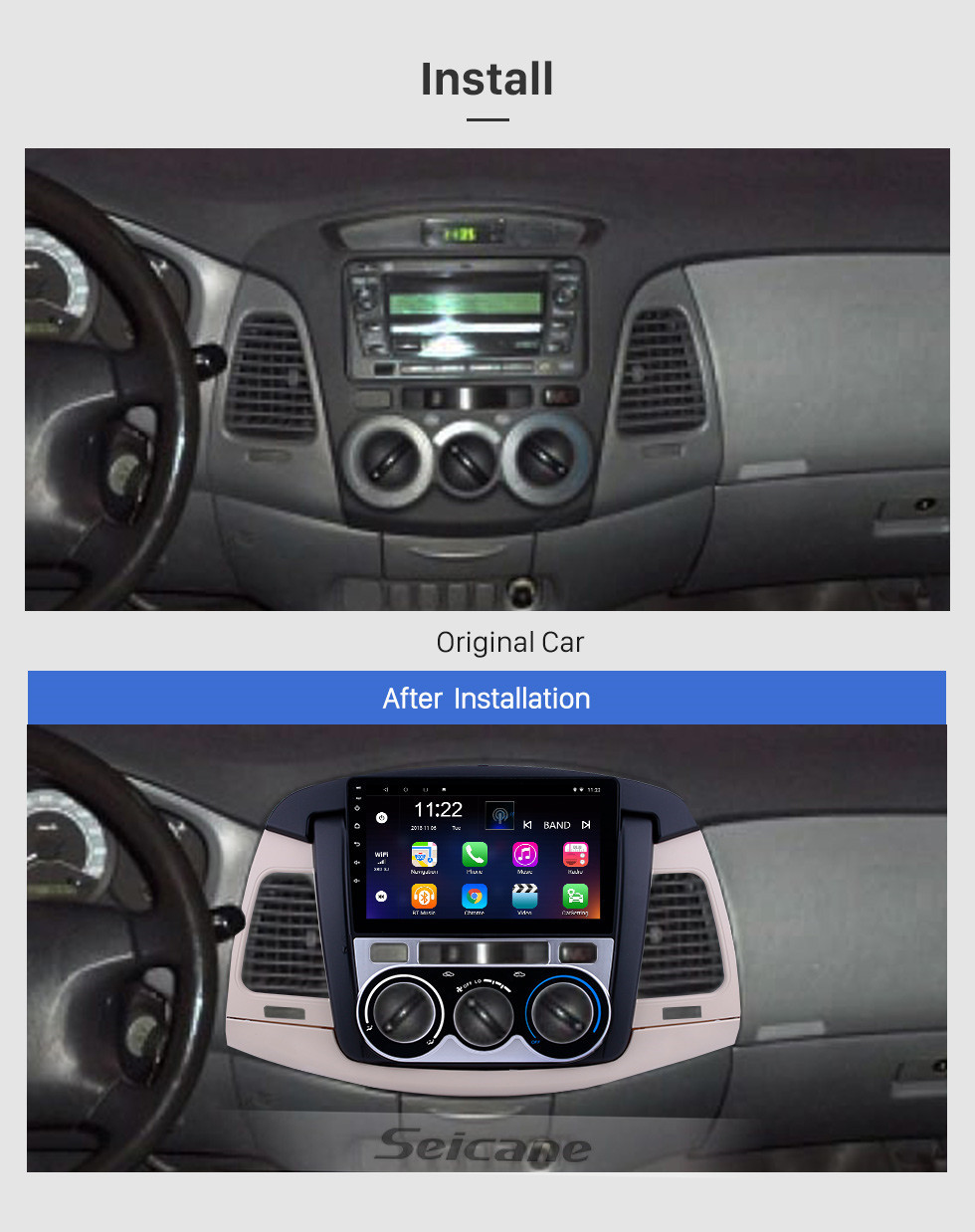 Seicane Android 10.0 9 inch Touchscreen GPS Navigation Radio for 2007-2011 Toyota Innova Manual A/C with Bluetooth USB WIFI support Carplay SWC Rear camera