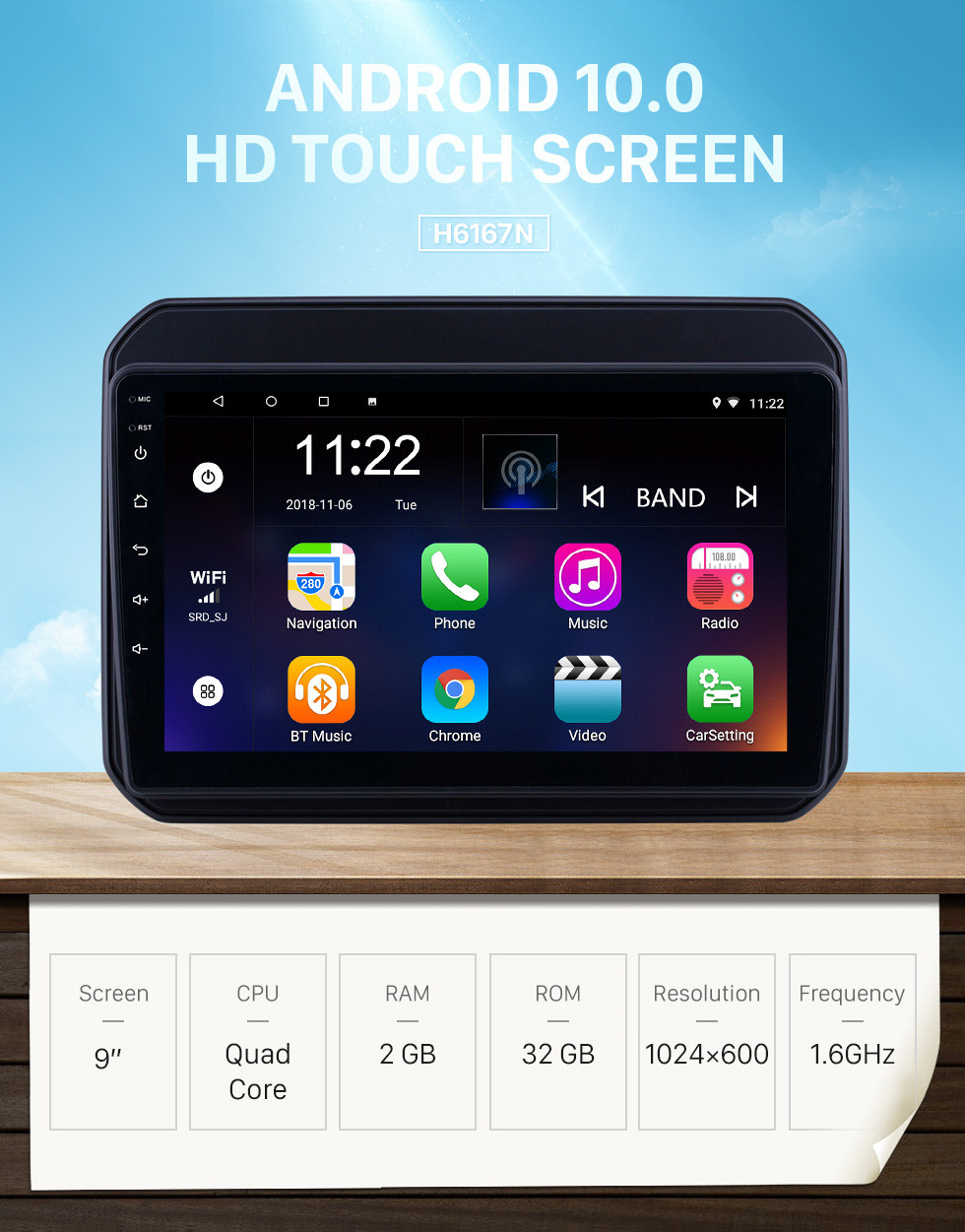 Seicane HD Touchscreen 9 inch Android 10.0 GPS Navigation Radio for 2016-2018 Suzuki IGNIS with Bluetooth USB WIFI AUX support Carplay 3G Backup camera TPMS