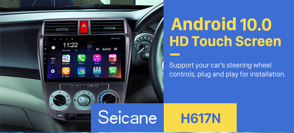 Seicane 2006-2013 Honda CITY HD 1024*600 Touchscreen Android 10.0 Radio Car Stereo with GPS Navigation Bluetooth USB WIFI OBD2 1080P Rearview camera Mirror link