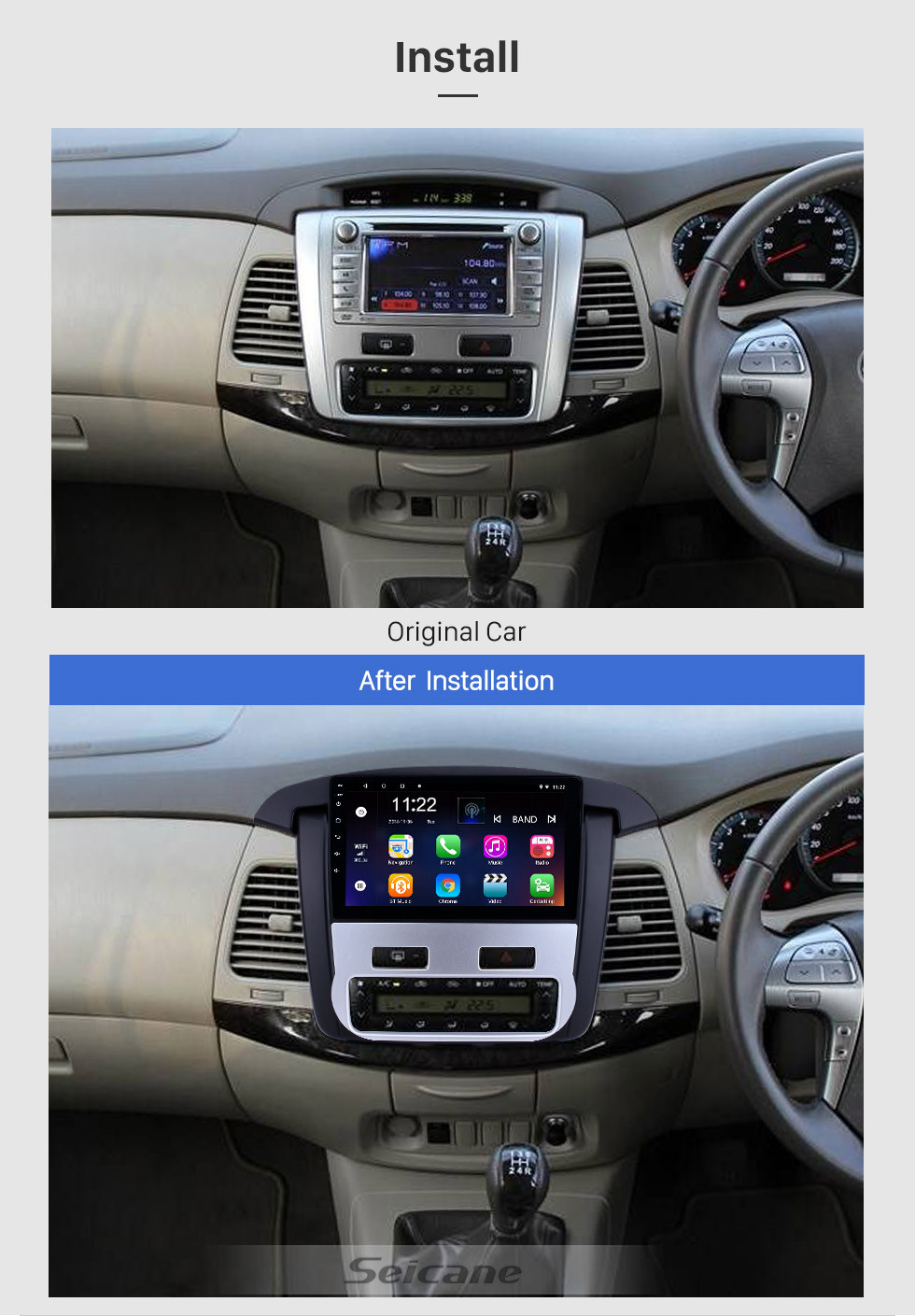 Seicane Android 10.0 9 inch Touchscreen GPS Navigation Radio for 2012-2014 Toyota innova Auto A/C with Bluetooth USB WIFI support Carplay SWC Rearview camera