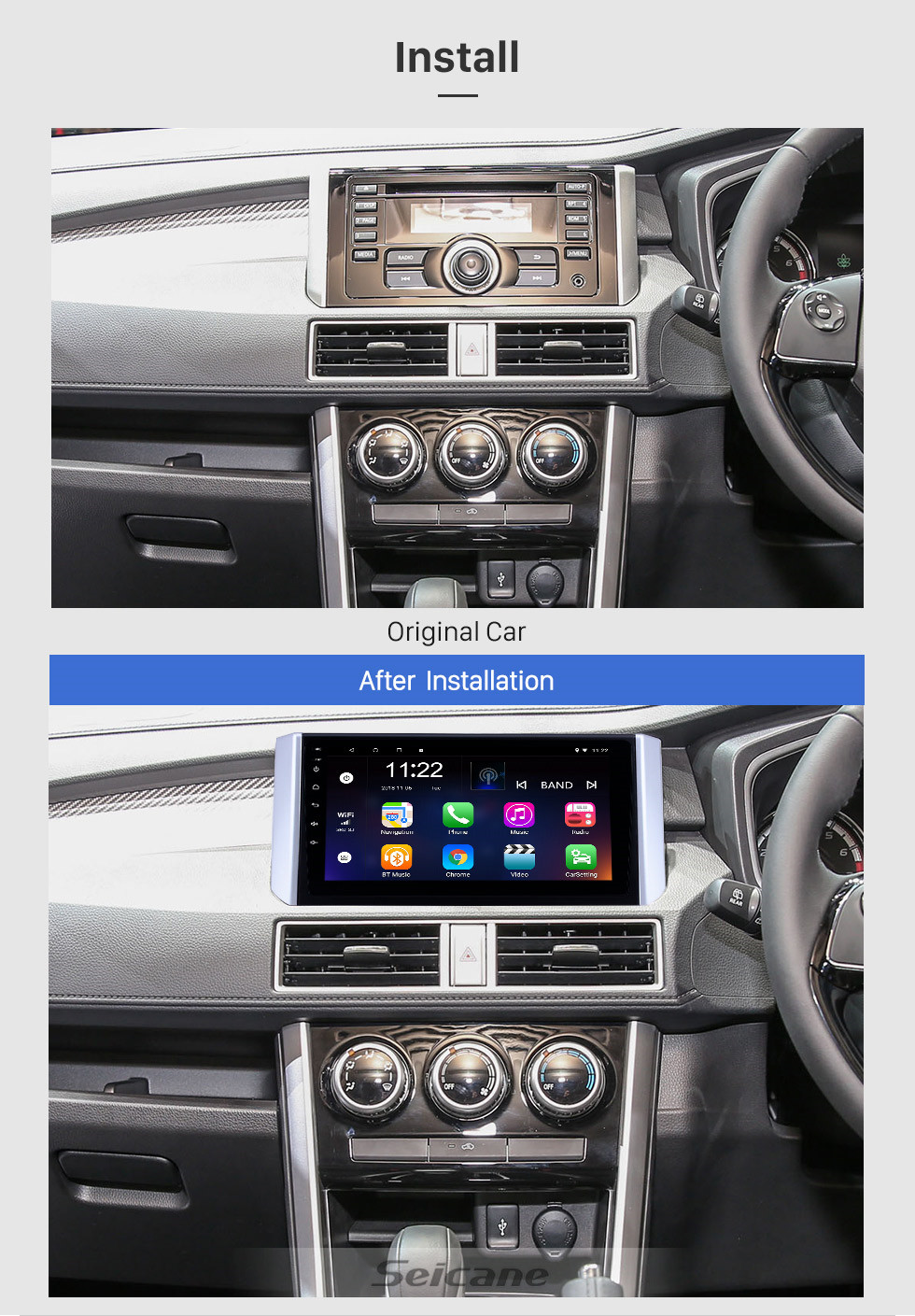 Seicane 2017-2018 Mitsubishi Xpander 9 inch Android 10.0 HD Touchscreen Bluetooth GPS Navigation Radio USB AUX support Carplay 3G WIFI Mirror Link TPMS