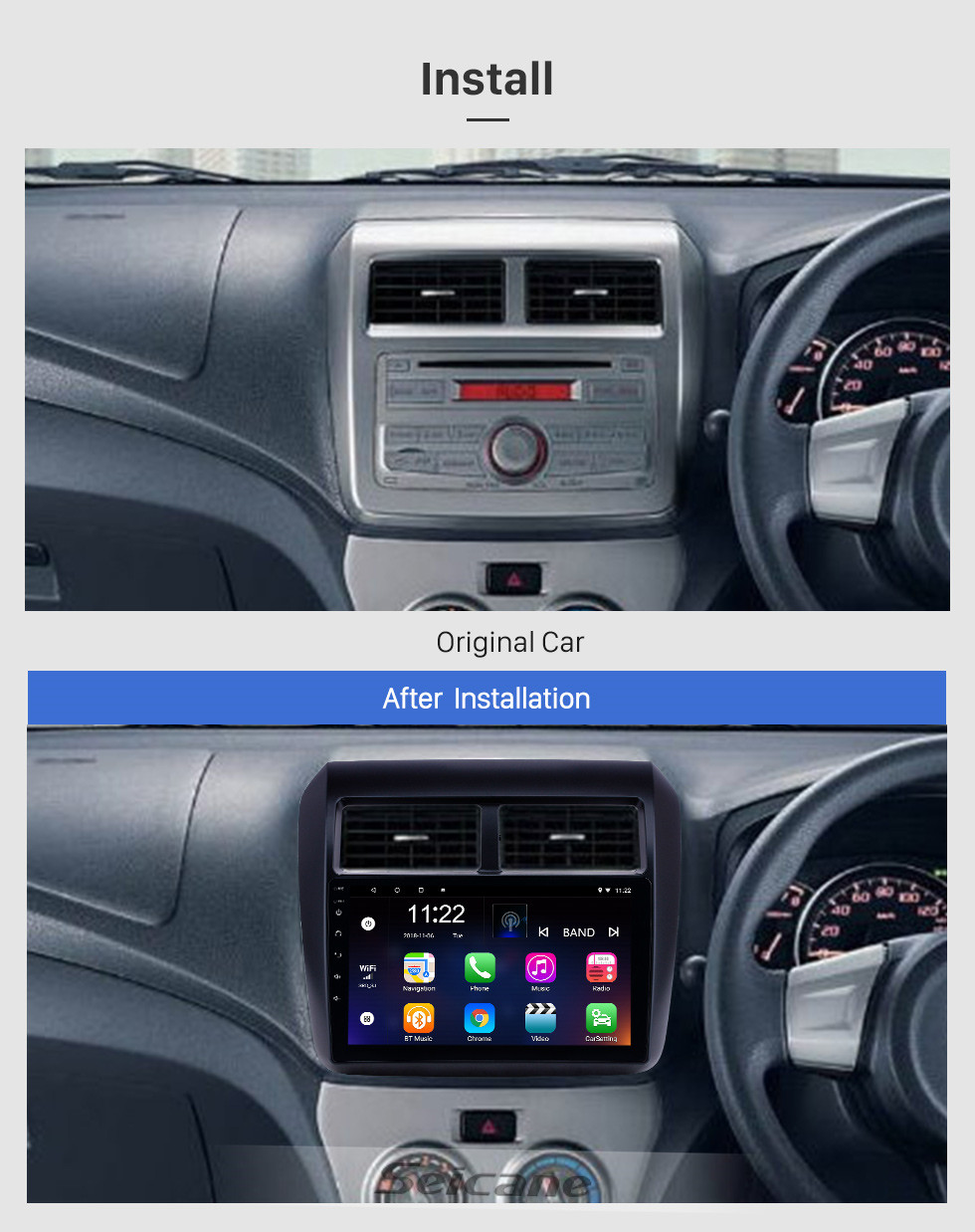 Seicane 2013-2019 Toyota AGYA/WIGO Android 10.0 Touchscreen 9 inch Head Unit Bluetooth GPS Navigation Stereo with AUX WIFI support DAB+ OBD2 DVR SWC TPMS Carplay
