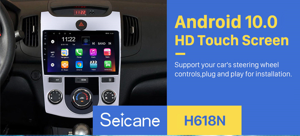 Seicane 9 inch HD Touchscreen Android 10.0 Radio GPS Navi for 2008-2012 KIA Forte(MT) with Bluetooth Music WIFI USB 1080P Video Mirror Link