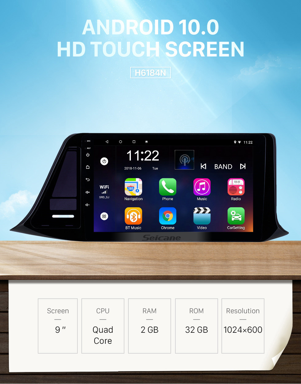 Seicane 2018-2019 Toyota C-HR RHD 9 inch Android 10.0 HD Touchscreen Bluetooth GPS Navigation Radio USB AUX support Carplay TPMS 3G WIFI Mirror Link