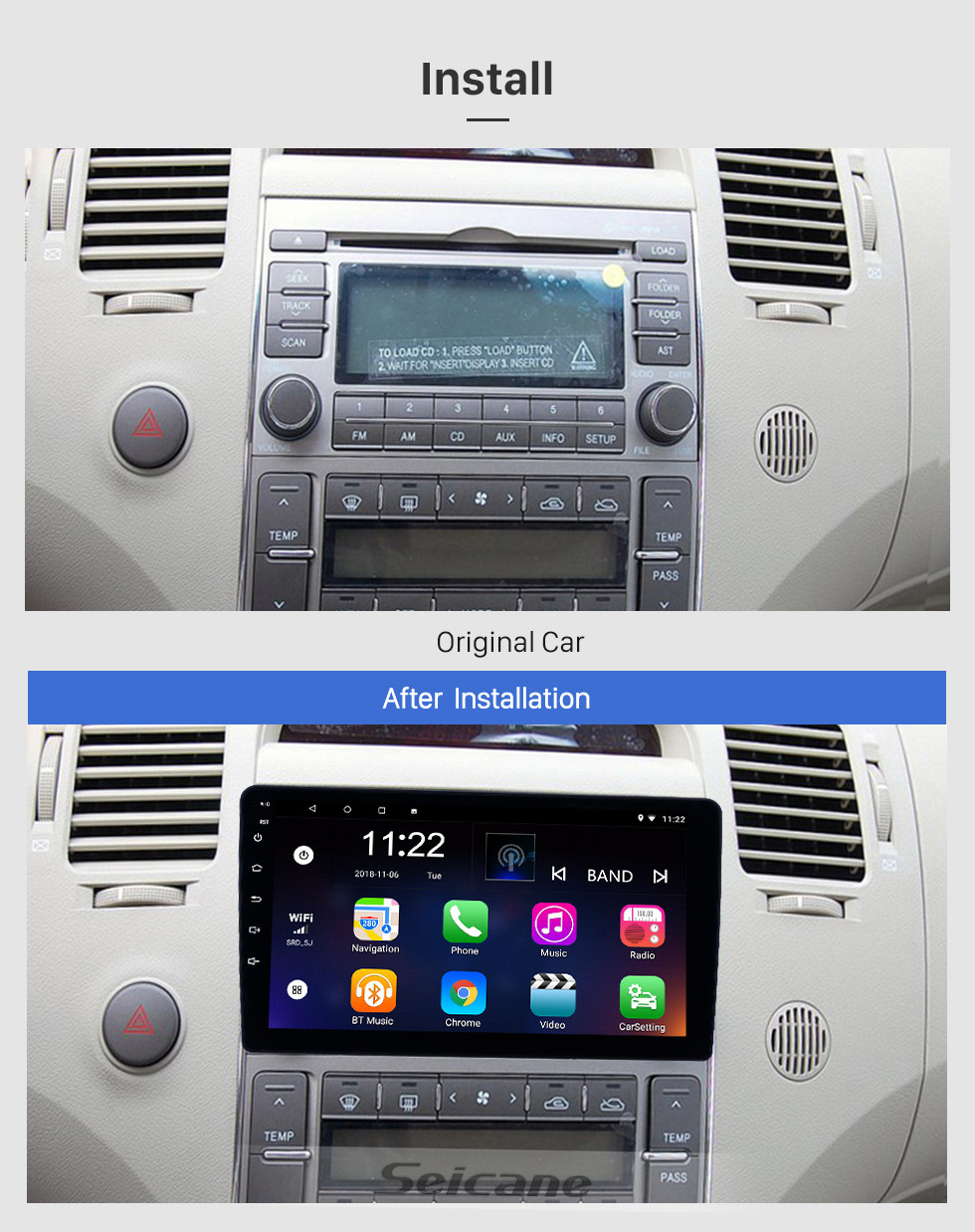Seicane Android 10.0 9 inch Touchscreen GPS Navigation Radio for 2006-2010 Hyundai Azera with Bluetooth USB WIFI AUX support Rear camera Carplay SWC