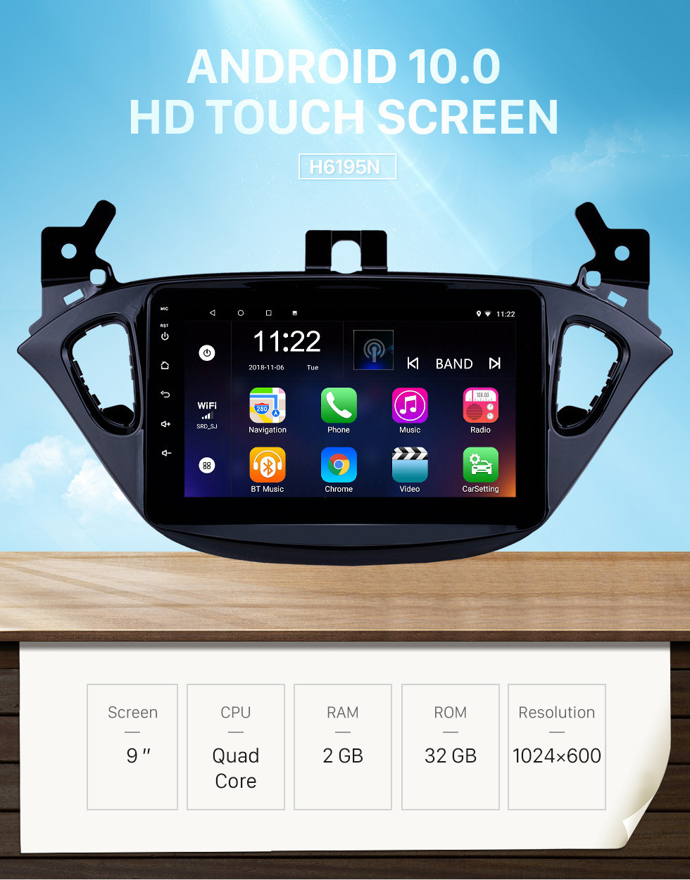Seicane 8 inch Android 10.0 Radio for 2015-2019 Opel Corsa/2013-2016 Opel Adam Bluetooth HD Touchscreen GPS Navigation AUX support Carplay Backup camera DVR