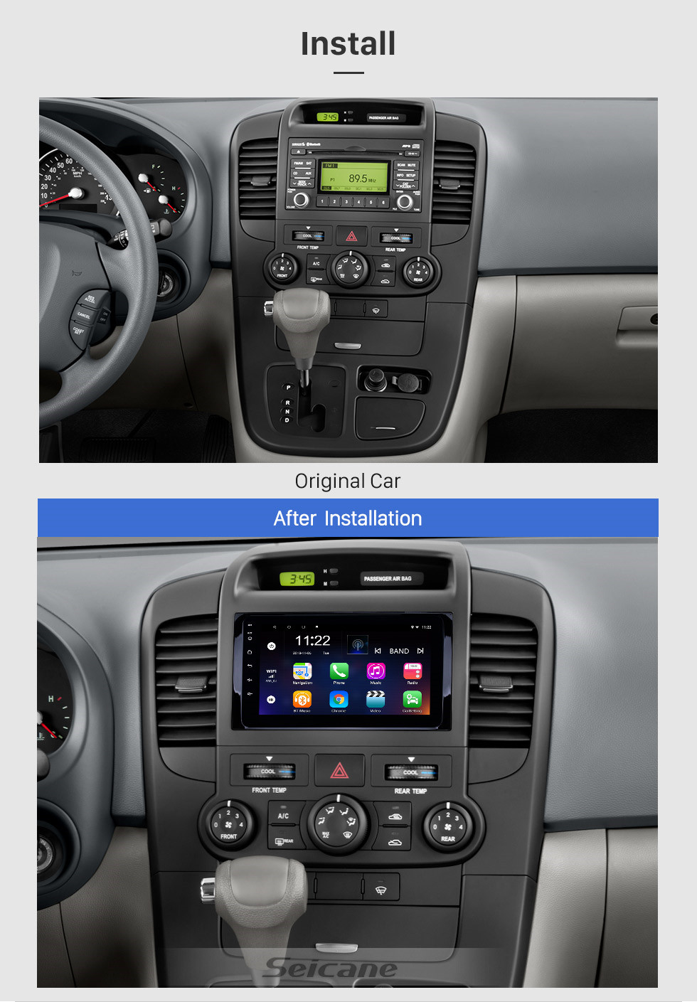 Seicane 8 inch HD Touchscreen Android 10.0 2014-2019 Kia Carnival GPS Navigation Radio with USB WIFI Bluetooth support SWC Carplay Steering Wheel Control