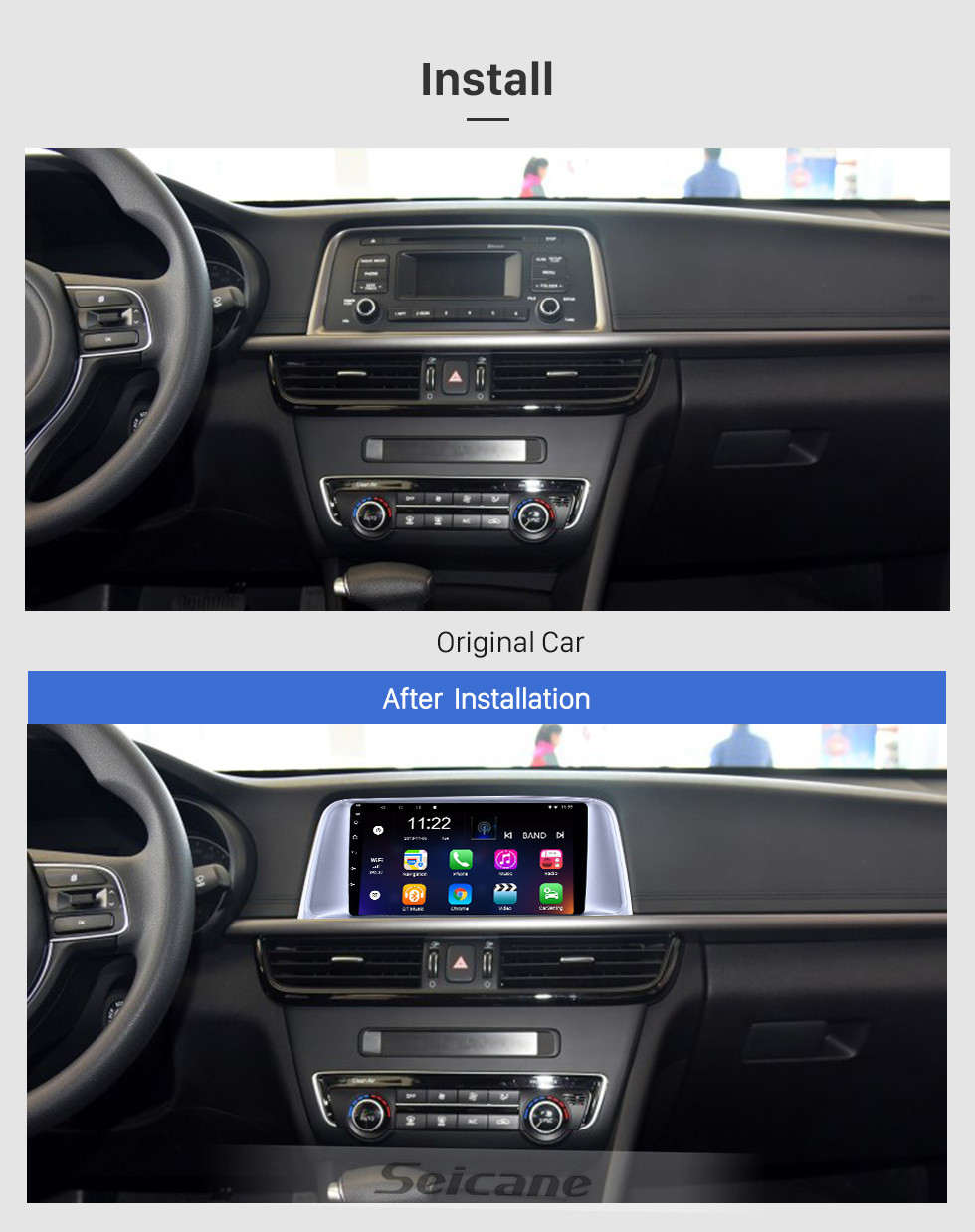 Seicane HD Touchscreen 9 inch Android 10.0 GPS Navigation Radio for 2015 2016 2017 Kia K5 with Bluetooth USB WIFI Music support Carplay SWC 3G Backup camera
