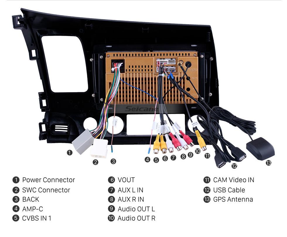 Seicane 2006-2011 Honda Civic RHD 9 inch Android 10.0 HD Touchscreen Bluetooth GPS Navigation Radio USB AUX support Carplay 3G WIFI Mirror Link TPMS