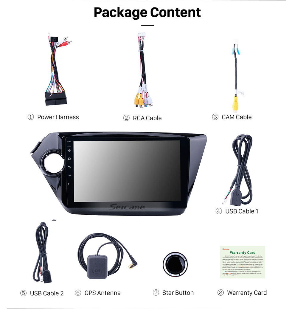 Seicane 9 inch Android 10.0 2011-2015 KIA K2 Radio DVD player GPS  navigation system  HD touch screen Bluetooth OBD2 DVR Rearview camera TV 1080P Video 3G WIFI Steering Wheel Control USB Mirror link