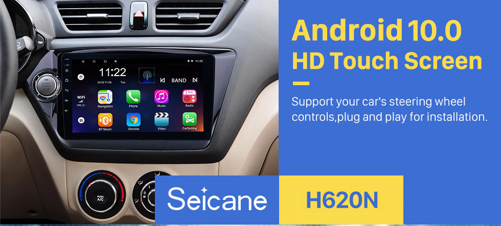 Seicane 9 inch HD Android 10.0 2011-2015 Kia K2 RIO Radio Removal with Multi-touch Capacitive Screen GPS DVD Player Bluetooth 3G WiFi AUX Auto A/V HD 1080P Video Backup Camera