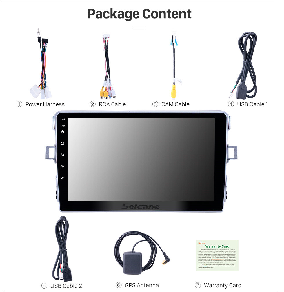 Seicane Android 10.0 9 inch Touchscreen GPS Navigation Radio for 2011-2016 Toyota Verso with USB WIFI Bluetooth Music AUX support Carplay Digital TV SWC