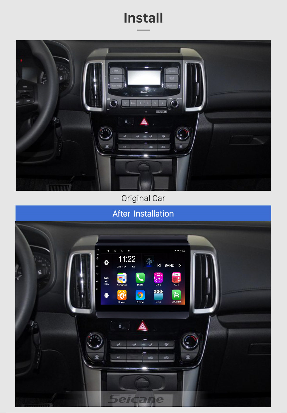 Seicane Android 10.0 9 inch Touchscreen GPS Navigation Radio for 2018-2019 Hyundai ix35 with Bluetooth USB WIFI AUX support Rear camera Carplay SWC TPMS