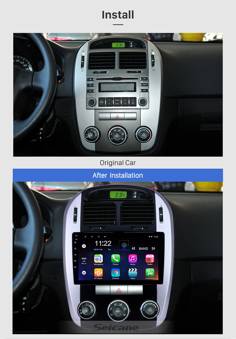 Seicane 2012-2016 Kia Cerato HD Touchscreen 9 inch Android 10.0 GPS Navigation Radio with Bluetooth AUX WIFI USB support DVR Carplay OBD Mirror Link TPMS