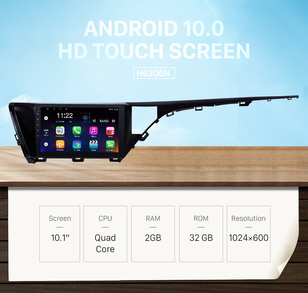 Seicane 10.1 inch HD Touchscreen Android 10.0 GPS Navigation Radio for 2018-2019 Toyota Camry LHD with Bluetooth AUX support Carplay Steering Wheel Control