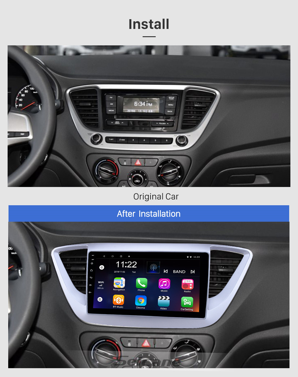 Seicane HD Touchscreen 9 inch Android 10.0 GPS Navigation Radio for 2016 Hyundai Verna with Bluetooth AUX Music support DVR Carplay OBD Steering Wheel Control